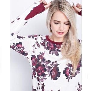 Tops - Last 2! French terry floral sweatshirt